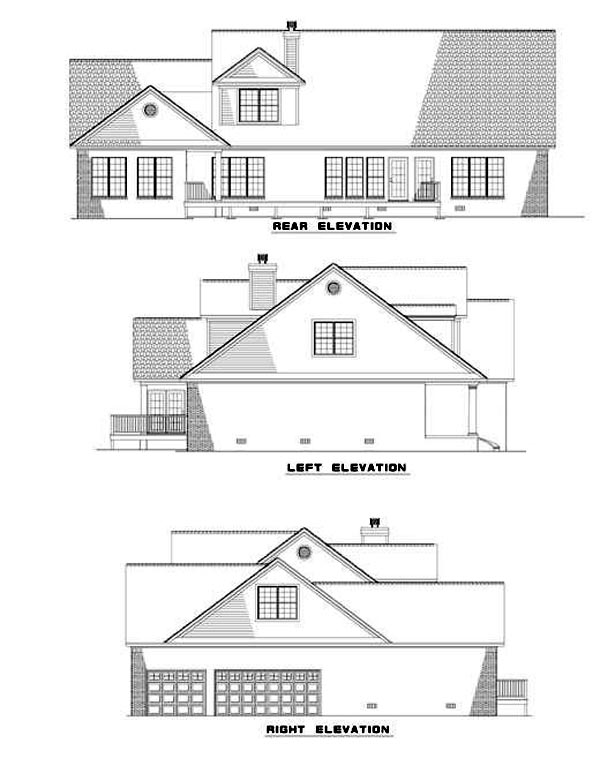 Colonial Country Farmhouse House Plan 82059 Rear Elevation