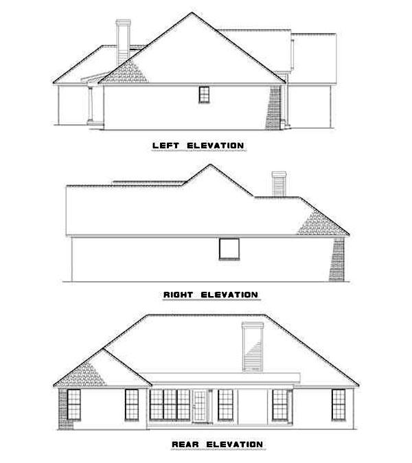 European House Plan 82072 Rear Elevation