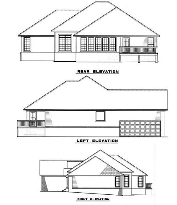 European House Plan 82083 Rear Elevation