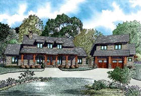 Country , Craftsman , Farmhouse House Plan 82085 with 5 Beds, 4 Baths, 2 Car Garage Elevation