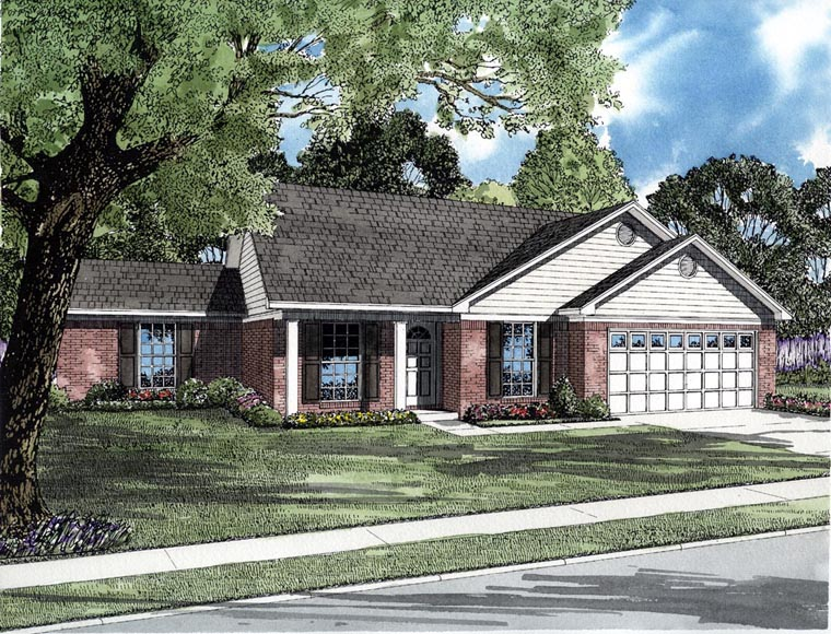 Traditional House Plan 82094 with 4 Beds, 2 Baths, 2 Car Garage Elevation