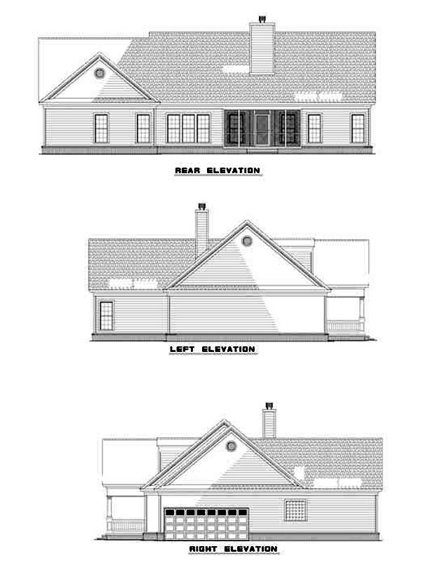Colonial Ranch Traditional House Plan 82108 Rear Elevation
