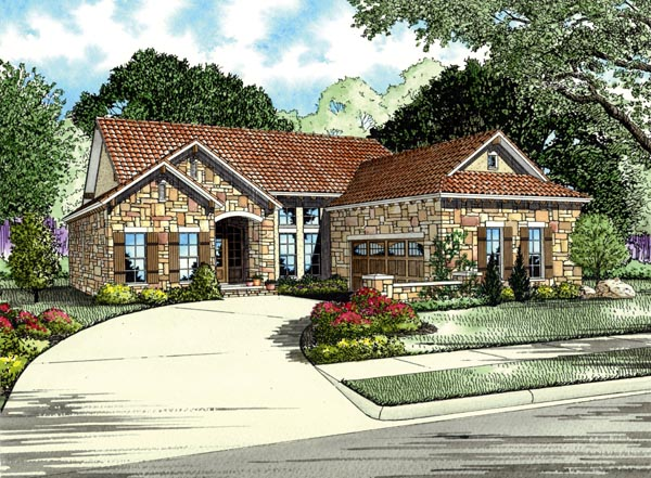 Italian, Mediterranean House Plan 82111 with 3 Beds, 2 Baths, 2 Car Garage Elevation