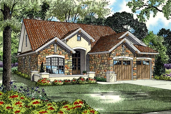 Italian, Mediterranean, Tuscan House Plan 82112 with 4 Beds, 3 Baths, 2 Car Garage Elevation
