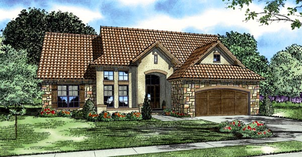 Italian, Mediterranean, Tuscan House Plan 82119 with 4 Beds, 5 Baths, 2 Car Garage Elevation