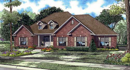 Traditional House Plan 82130 with 4 Beds, 4 Baths, 3 Car Garage Elevation