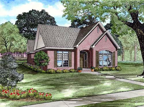 Narrow Lot, One-Story, Traditional House Plan 82137 with 3 Beds, 2 Baths, 2 Car Garage Elevation