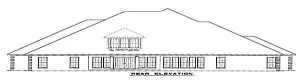 European House Plan 82145 with 4 Beds, 4 Baths, 3 Car Garage Rear Elevation
