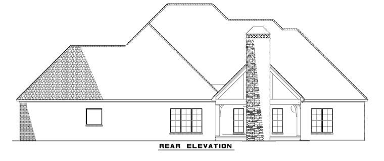 Rear Elevation of Craftsman   European   Ranch   Tudor   House Plan 82162