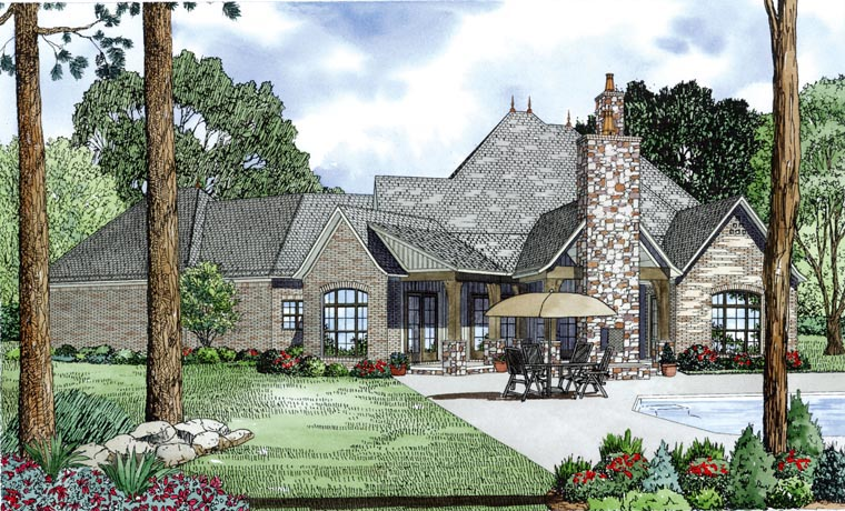 Rear Elevation of Craftsman   European   French Country   House Plan 82164