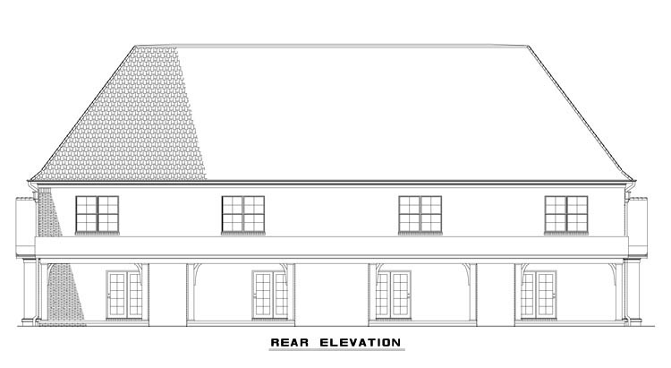 Tudor Multi-Family Plan 82175 with 8 Beds, 12 Baths Rear Elevation