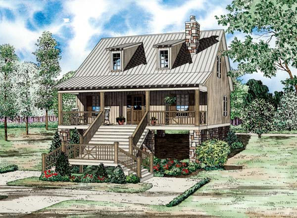 Cape Cod, Coastal, Country House Plan 82203 with 2 Beds, 2 Baths Elevation