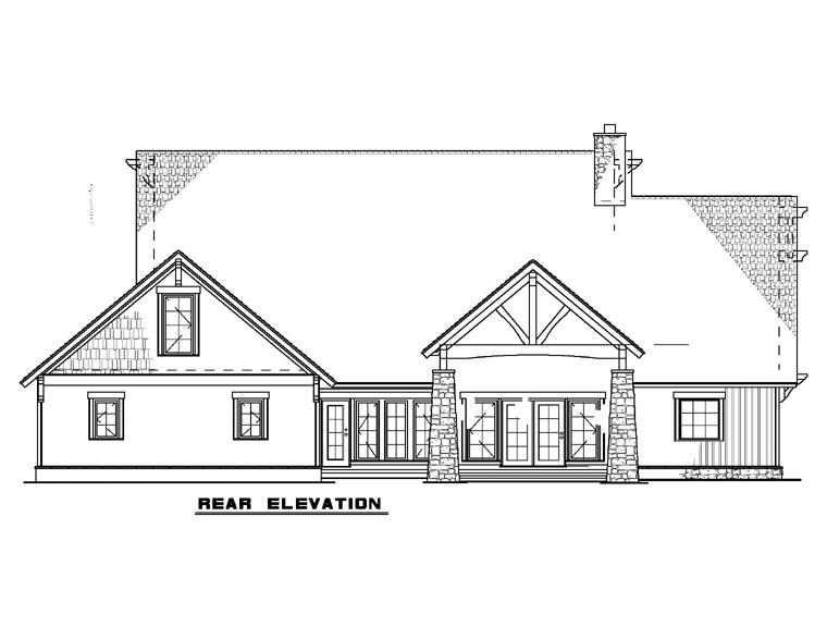 House Plan 82216 with 4 Beds, 4 Baths, 3 Car Garage Rear Elevation