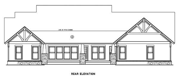 Country Craftsman Tudor House Plan 82217 Rear Elevation