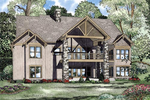 Craftsman Tudor House Plan 82219 Rear Elevation