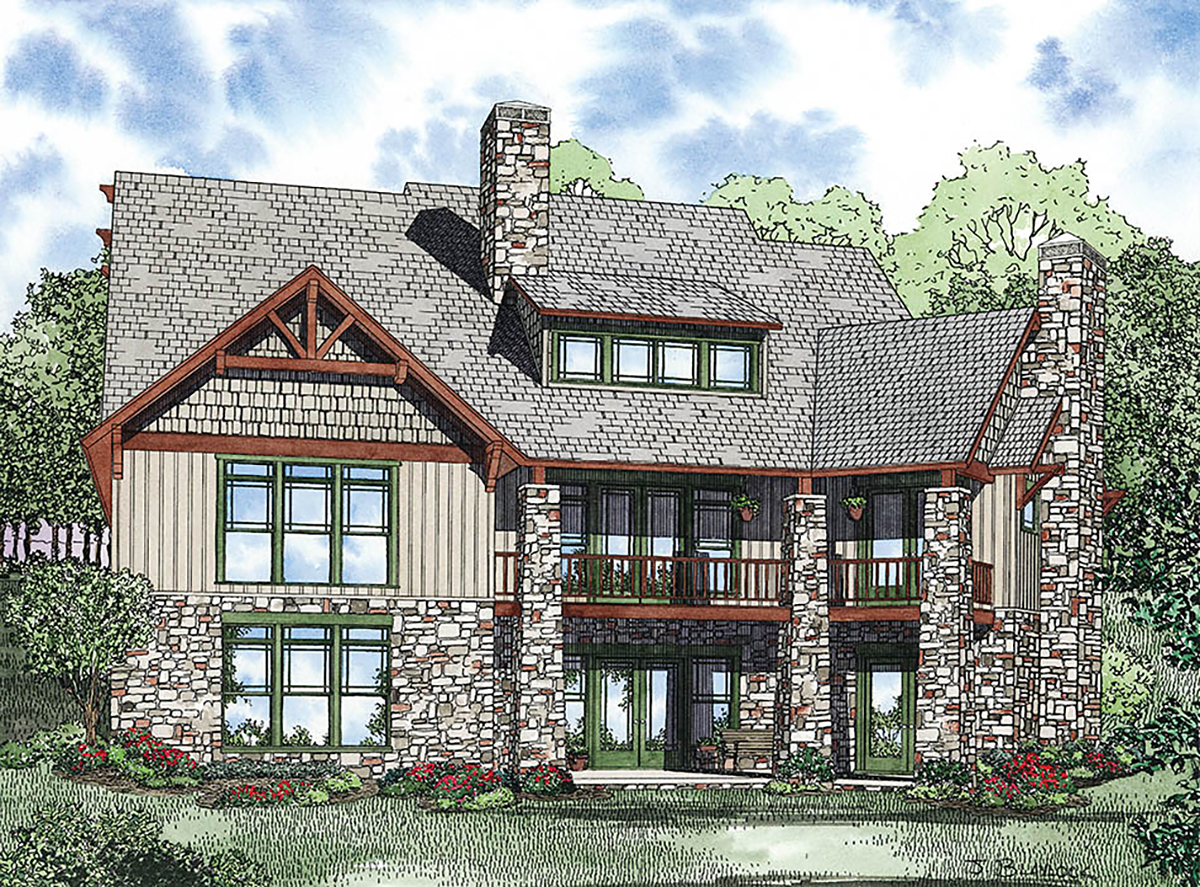 House Plan 82223 with 6 Beds, 5 Baths, 3 Car Garage Rear Elevation