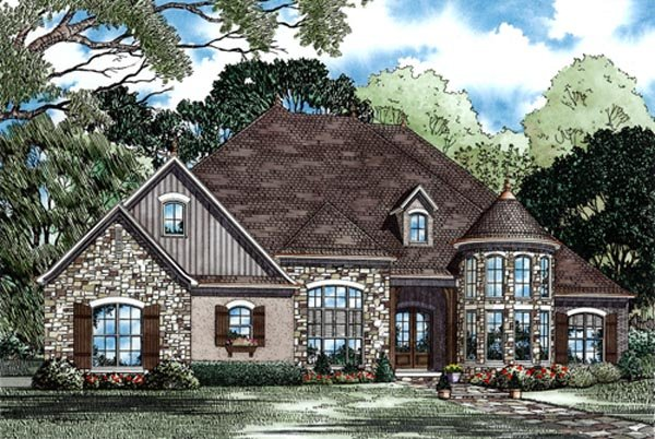 Country, European House Plan 82245 with 4 Beds, 3 Baths, 3 Car Garage Elevation