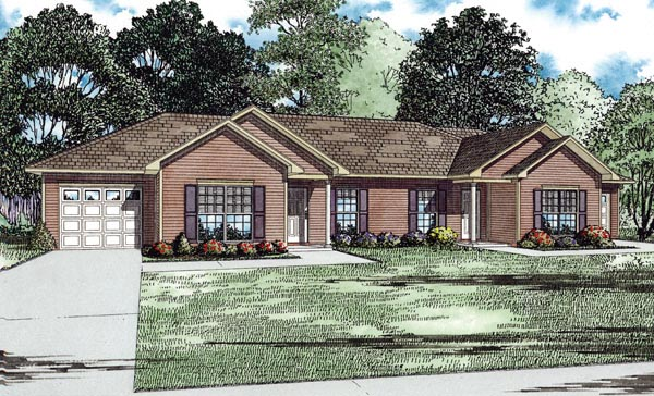 Traditional Multi-Family Plan 82254 Elevation