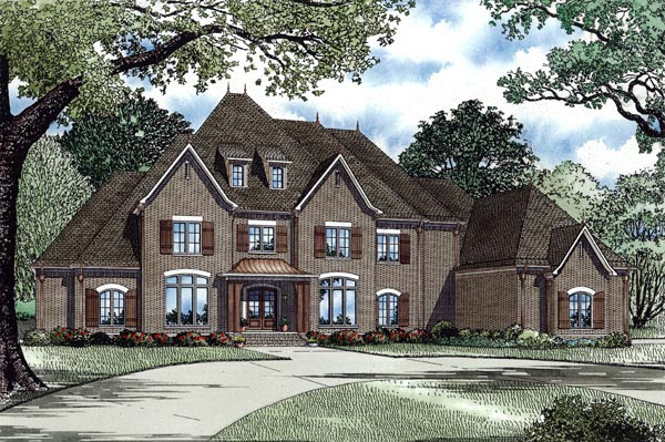 European, French Country, Traditional House Plan 82258 with 4 Beds, 5 Baths, 4 Car Garage Elevation