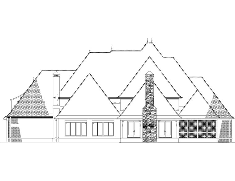 European, French Country, Traditional House Plan 82258 with 4 Beds, 5 Baths, 4 Car Garage Rear Elevation