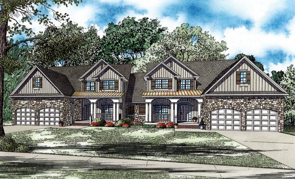 Country Craftsman Multi-Family Plan 82263 Elevation