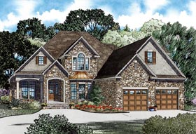 European House Plan 82264 with 3 Beds, 3 Baths, 2 Car Garage Elevation