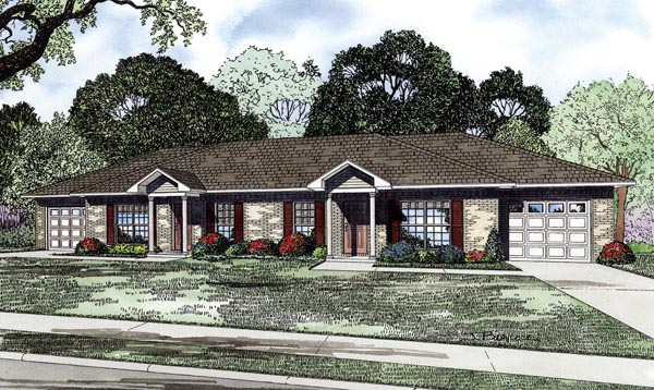 Traditional Multi-Family Plan 82265 Elevation