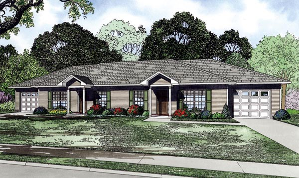 Traditional Multi-Family Plan 82266 Elevation