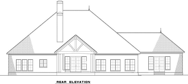House Plan 82311 with 3 Beds, 3 Baths, 3 Car Garage Rear Elevation