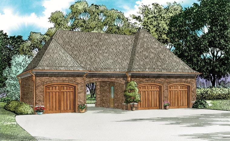 3 Car Garage Plan 82327 Elevation