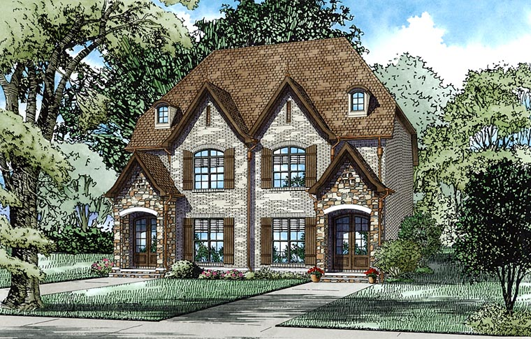 European Tudor Multi-Family Plan 82334 Elevation