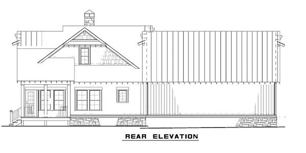 Cape Cod, Cottage, Craftsman House Plan 82341 with 3 Beds, 3 Baths, 2 Car Garage Rear Elevation