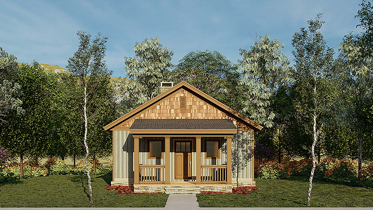 Cabin, Ranch, Traditional House Plan 82343 with 2 Beds, 1 Baths Elevation