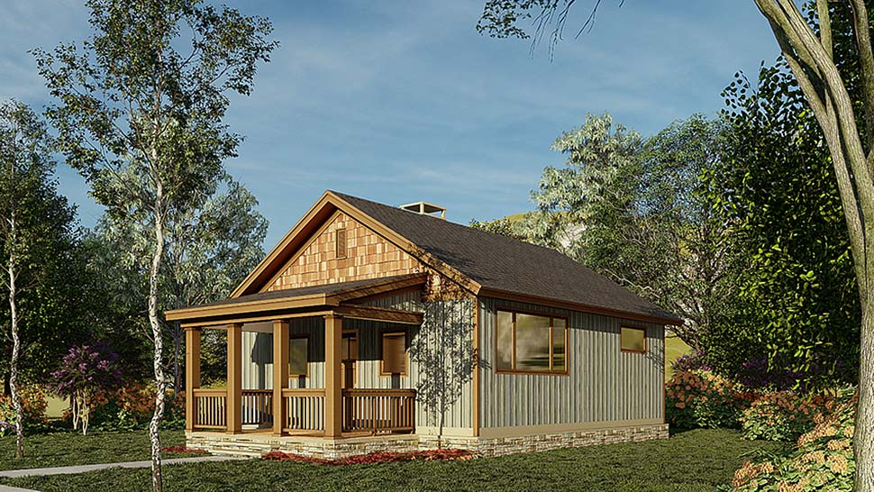 Cabin, Ranch, Traditional House Plan 82343 with 2 Beds, 1 Baths Picture 1