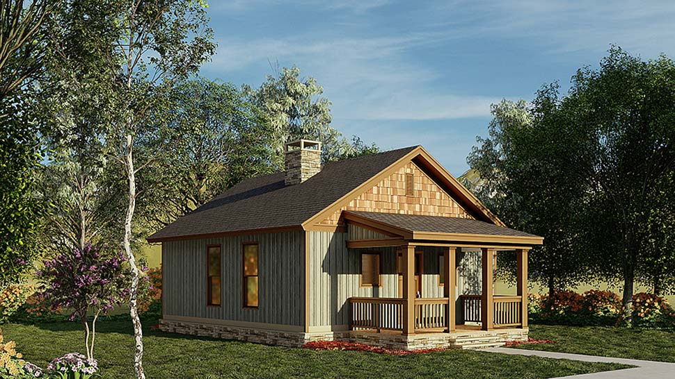 Cabin, Ranch, Traditional House Plan 82343 with 2 Beds, 1 Baths Picture 2