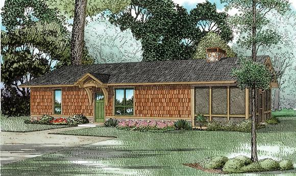 Cabin, Ranch House Plan 82344 with 1 Beds, 1 Baths Elevation