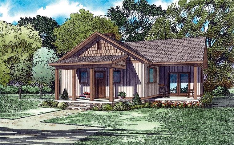 Cottage, Craftsman House Plan 82346 with 2 Beds, 1 Baths Elevation