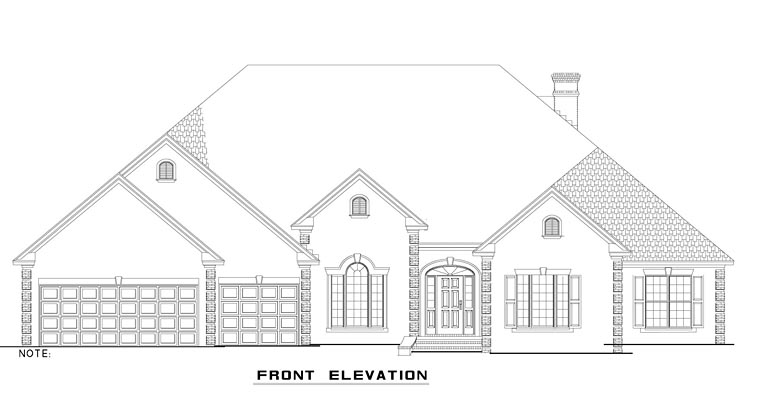 European, Traditional House Plan 82351 with 4 Beds, 3 Baths, 3 Car Garage Elevation