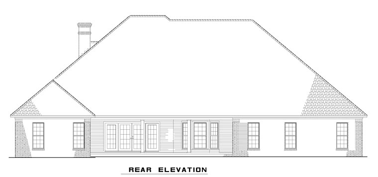 European, Traditional House Plan 82351 with 4 Beds, 3 Baths, 3 Car Garage Rear Elevation