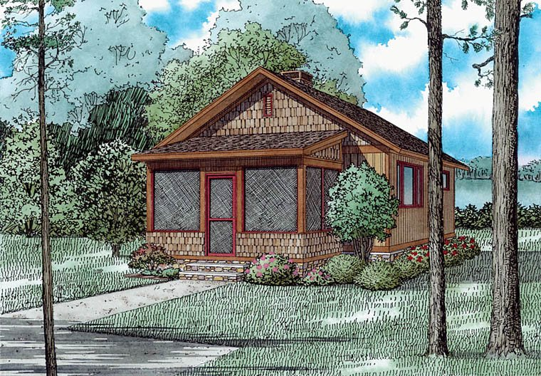Cabin, Country, Craftsman House Plan 82354 with 2 Beds, 1 Baths Elevation