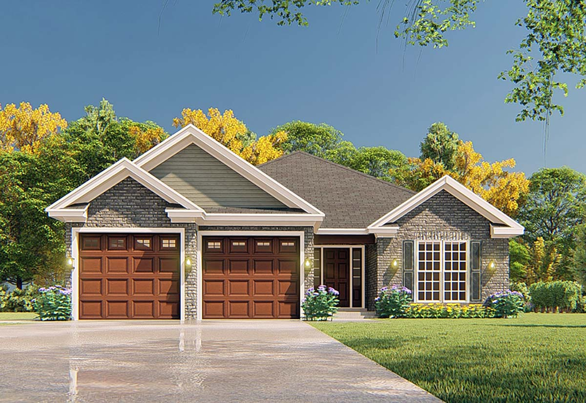 Traditional House Plan 82365 with 3 Beds, 2 Baths, 2 Car Garage Elevation