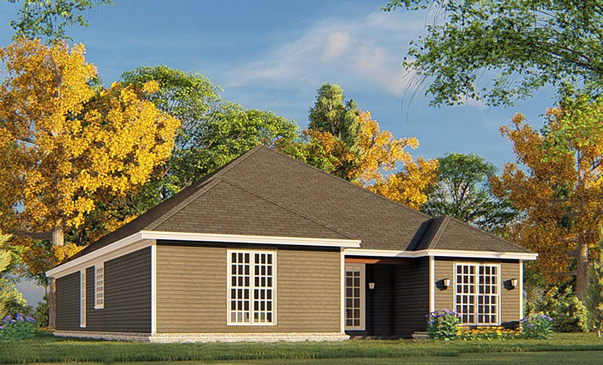 Traditional House Plan 82365 with 3 Beds, 2 Baths, 2 Car Garage Rear Elevation