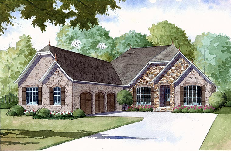 European House Plans 153 1127 this is a colorful front elevation of these luxury european house plans European House Plan 82402 Elevation