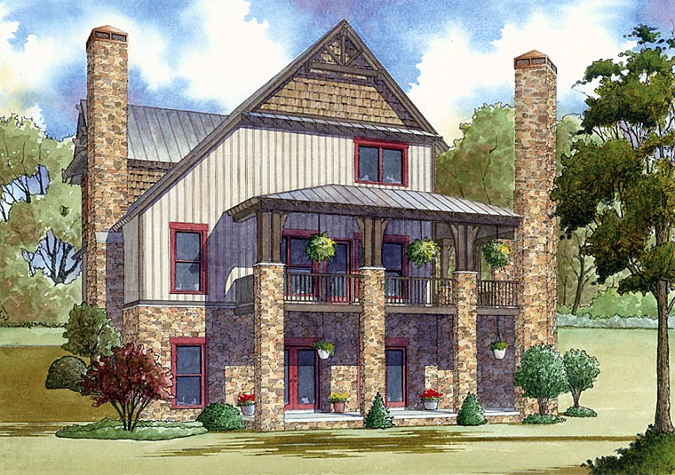 Country Farmhouse Southern House Plan 82409 Rear Elevation