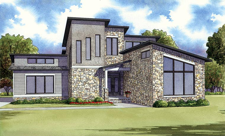 Contemporary Modern House Plan 82410 Elevation