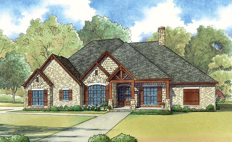 Craftsman European Traditional House Plan 82430 Elevation