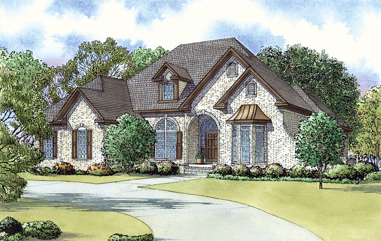 European, Southern, Traditional House Plan 82435 with 3 Beds, 3 Baths, 2 Car Garage Elevation