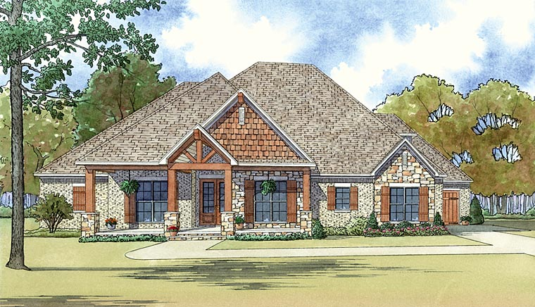Cottage Country Craftsman House Plan 82437 Elevation