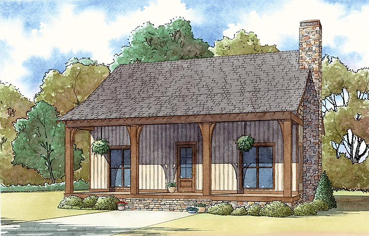 Cabin Country Ranch Elevation of Plan 82442
