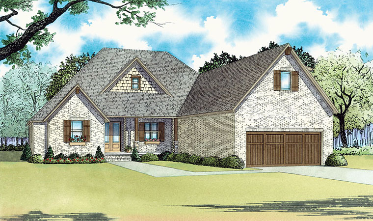 Country, European, Traditional House Plan 82446 with 4 Beds, 4 Baths, 2 Car Garage Elevation